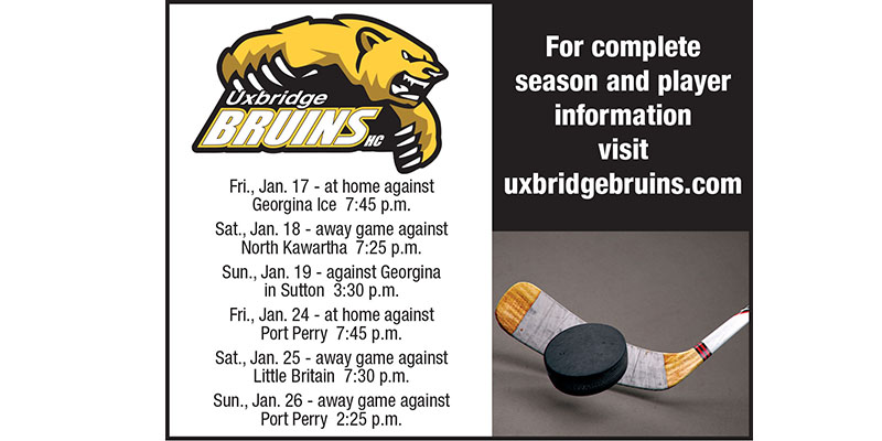 The Uxbridge Bruins game schedule for the next two weeks